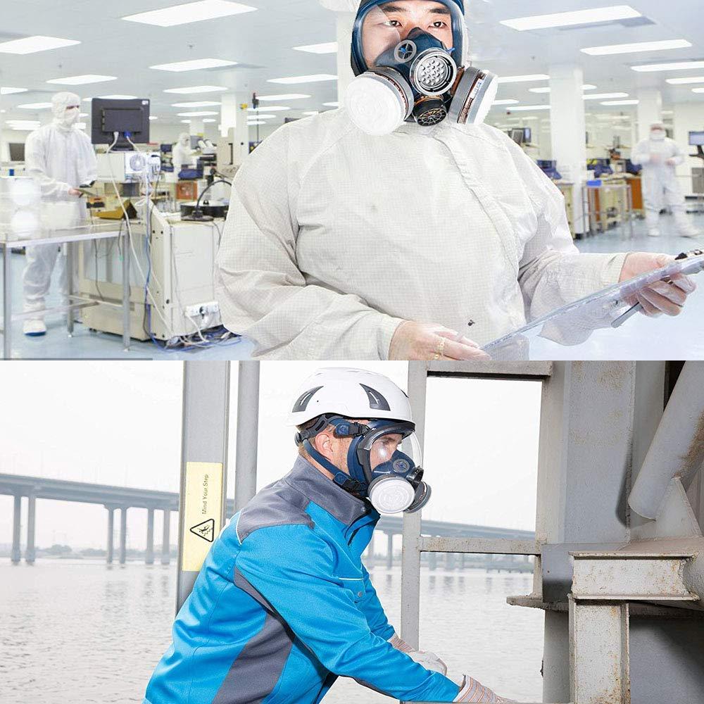 Organic Vapor Full Face Respirator Safety Mask, IVSUN Activated Carbon Respirator Paint Respirator Gas Chemical Dustproof Pesticides Mask (Respirator +1 Pair LDY3 Cartridges) by IVSUN (Image #7)