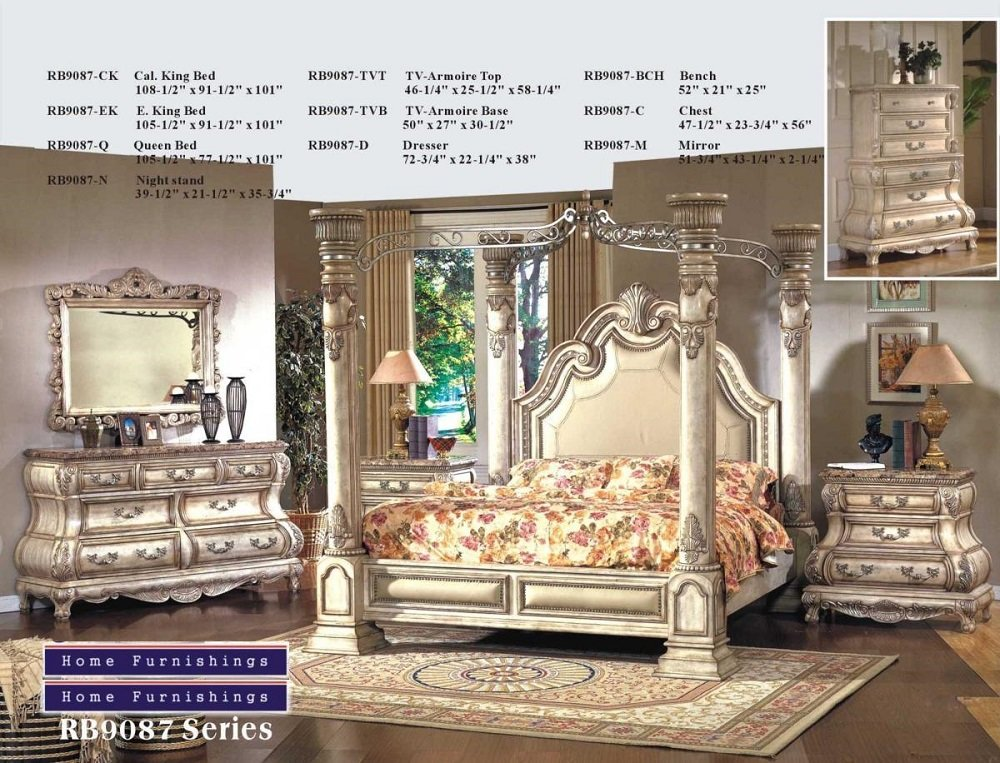Amazon.com: Inland Empire Furniture Arianna White Wash Cal King Canopy  Bedroom Set: Kitchen U0026 Dining