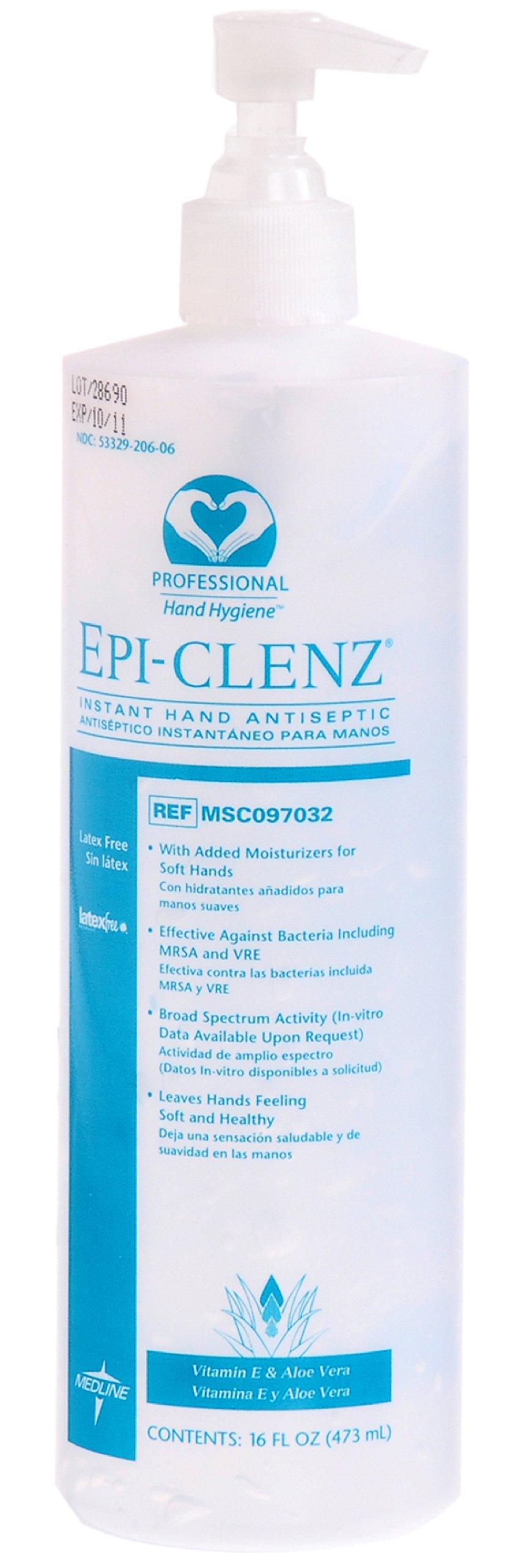 Medline MSC097032 Epi-Clenz Instant Hand Sanitizers, Latex Free, 16 oz, Clear (Pack of 12)