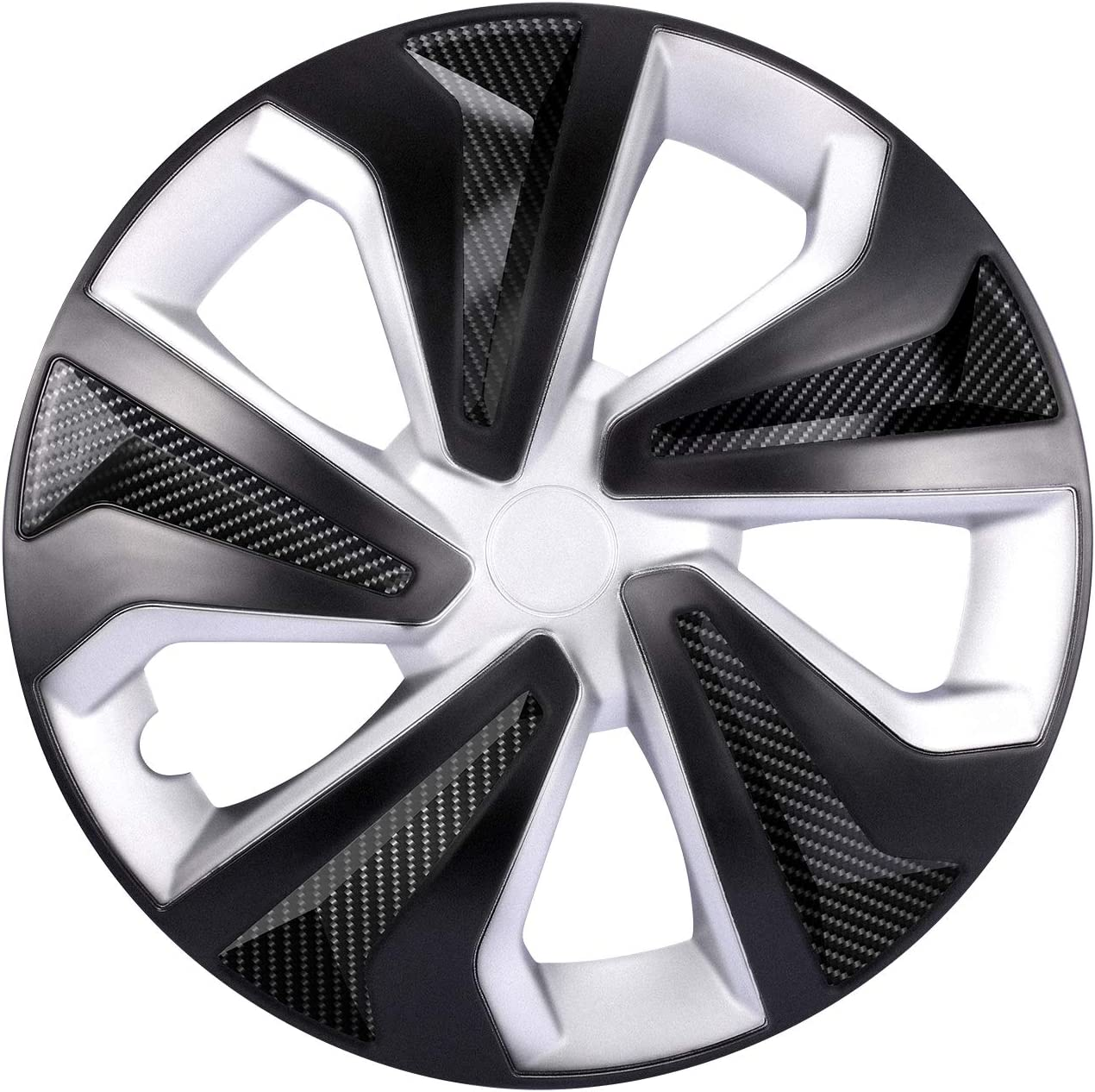 GSSUSA Hubcaps Black and Silver 15 Inch Wheel Covers Plastic Car Accessories Hub Cap Snap on Atuo Tire Rim Replacement Exterior Cap 4 Pack
