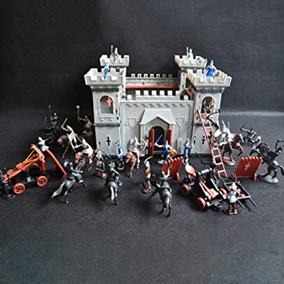 58bh Medieval Castle Knights Action Figure Toy Army Playset with Assemble Castle, Catapult and Horse-Drawn Carriage Great Gift for Girls and Boys: Home & Kitchen