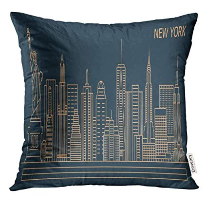 Emvency Throw Pillow Cover NYC New York City Linear Style Skyline with  Buildings Towers Line Decorative Pillow Case Home Decor Square 18x18 Inches