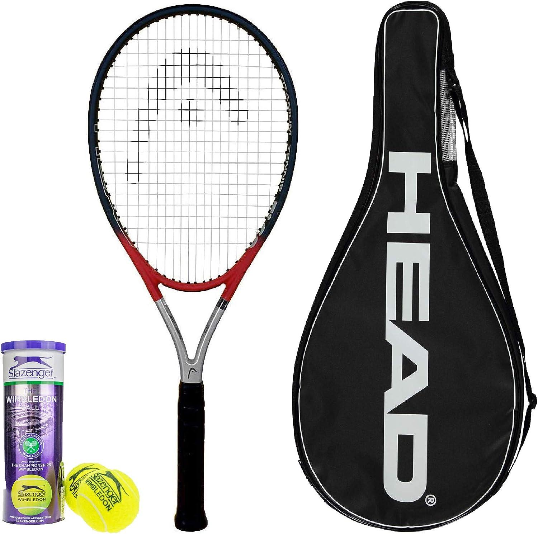 HEAD Ti S2 Titanium Tennis Racket inc Cover /& 3 x Slazenger Wimbledon Tennis Balls Grip L1 to L5 Available