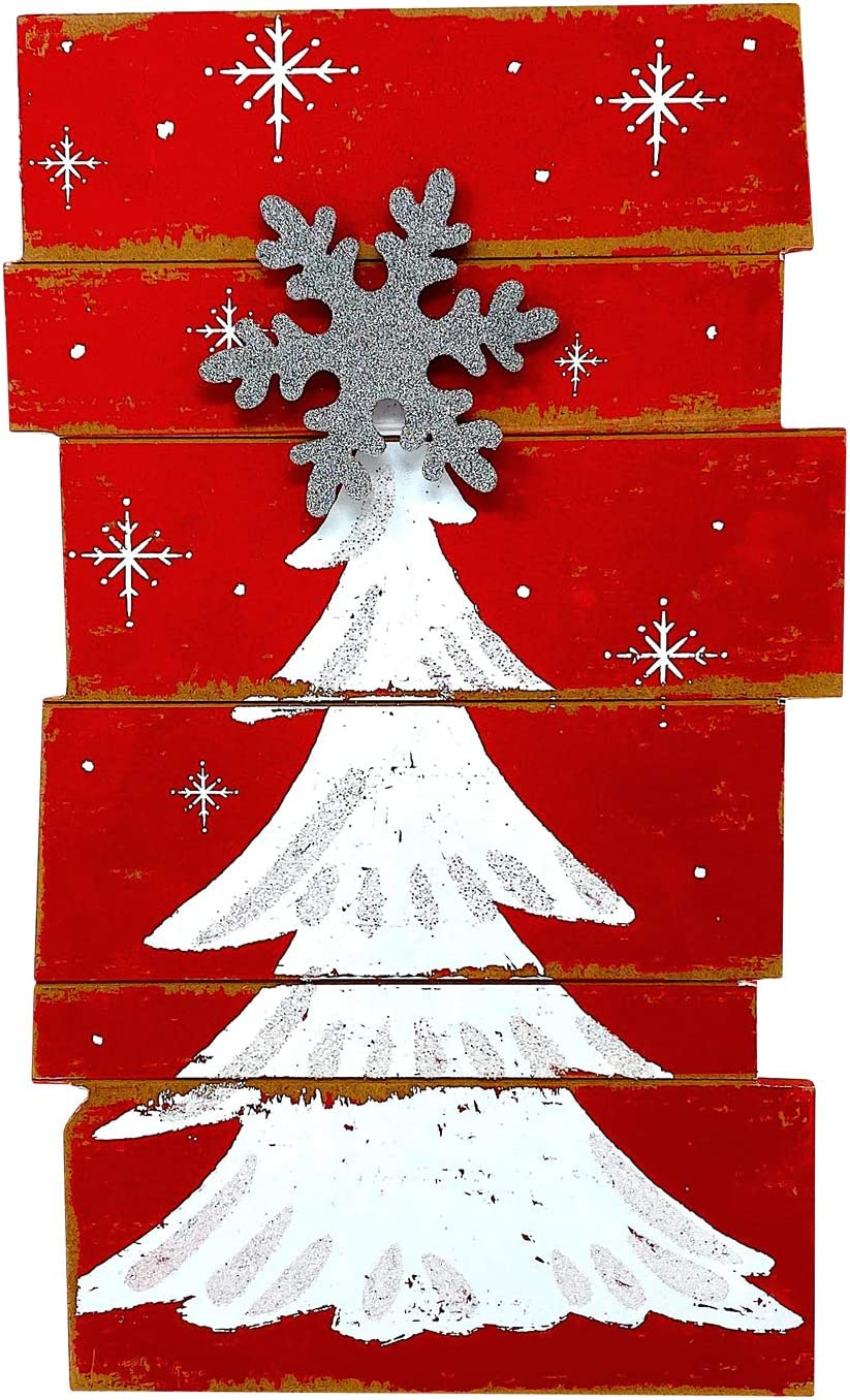 """Christmas Tree Wooden Decor Rustic Wall Door Glittery Decoration Indoor Outdoor 15.5"""" x 9.5"""" (Red & White)"""