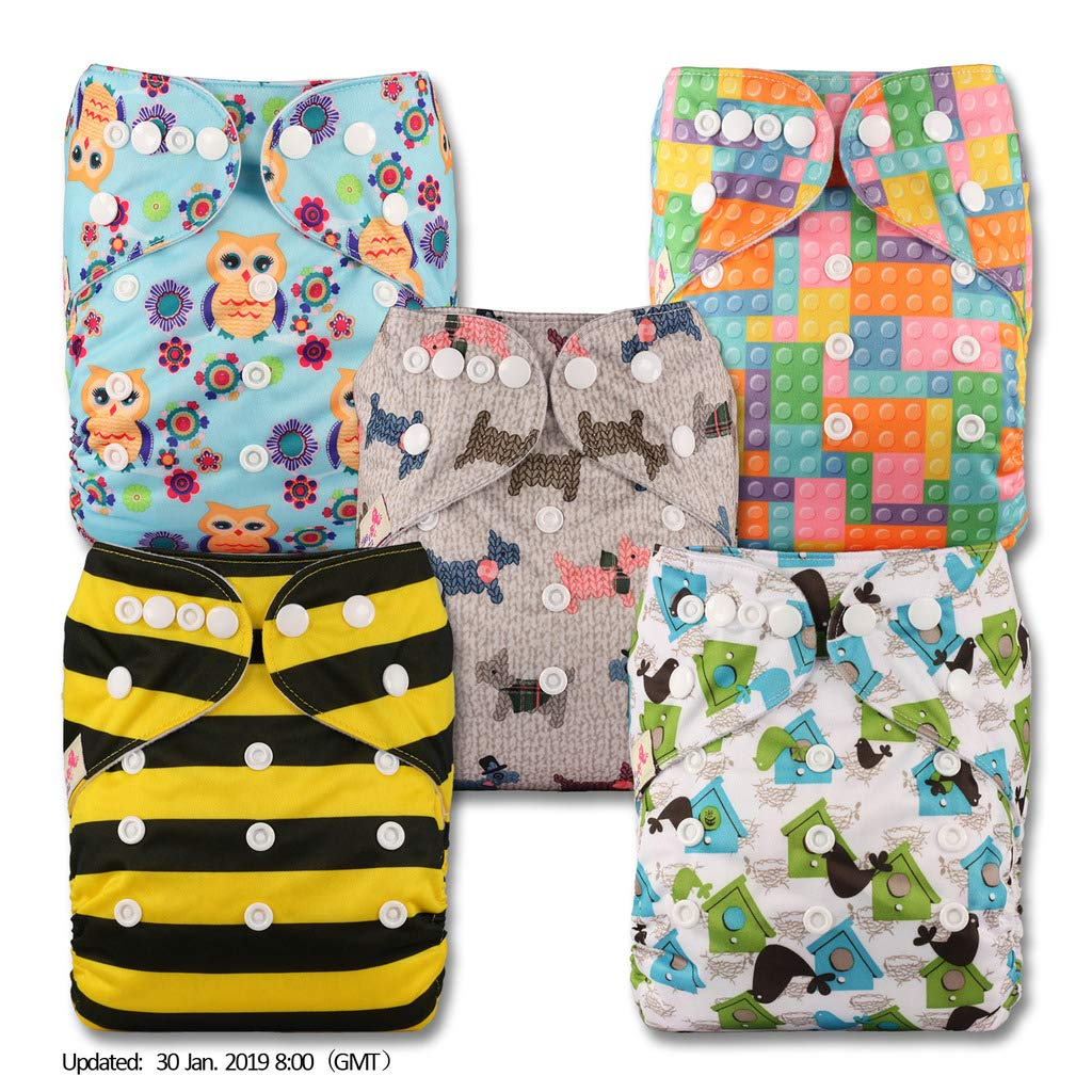 Fastener: Hook-Loop Reusable Pocket Cloth Nappy with 5 Bamboo Inserts Littles /& Bloomz V514bb1