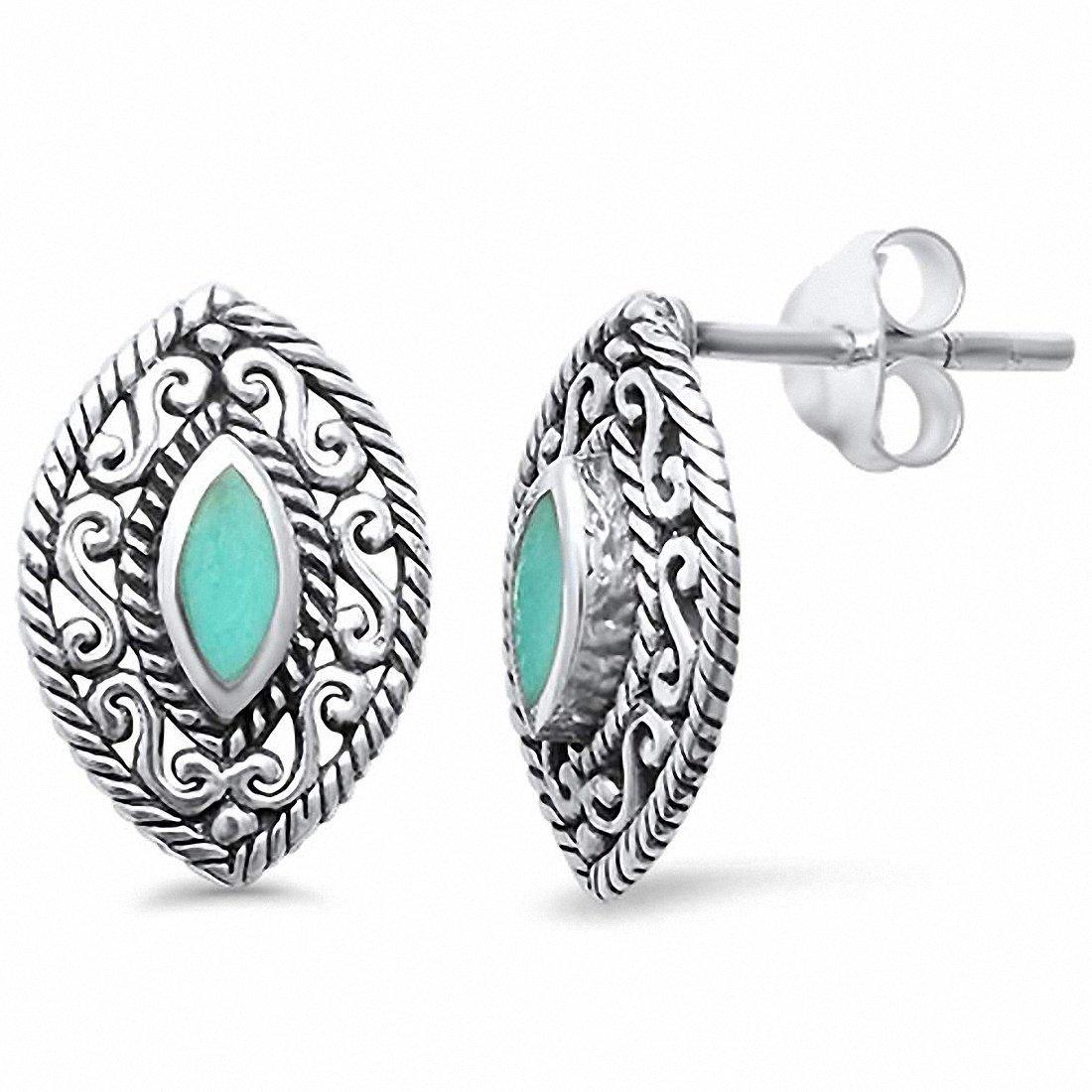 Filigree Marquise Stud Earrings 925 Sterling Silver Choose Color