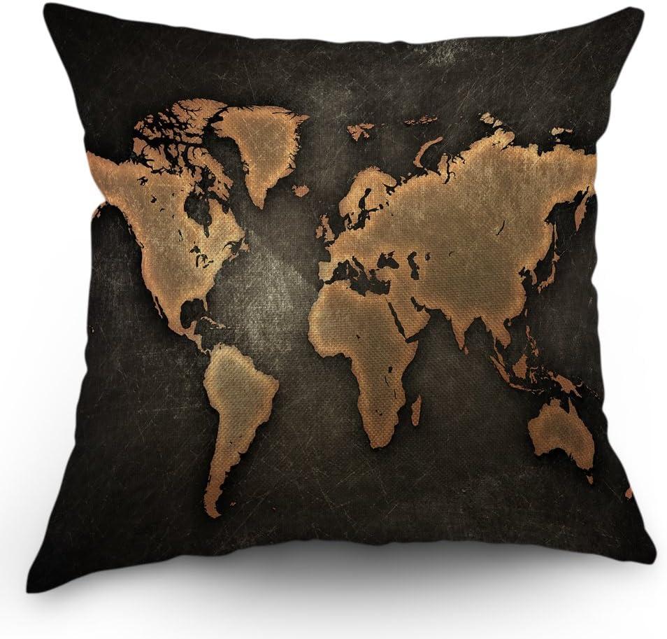 Moslion World Map Pillow Case Decor Vintage Map on Black Background Throw Pillow Case 18