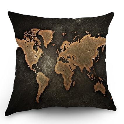 Amazon Com Moslion World Map Pillow Case Decor Vintage Map On Black