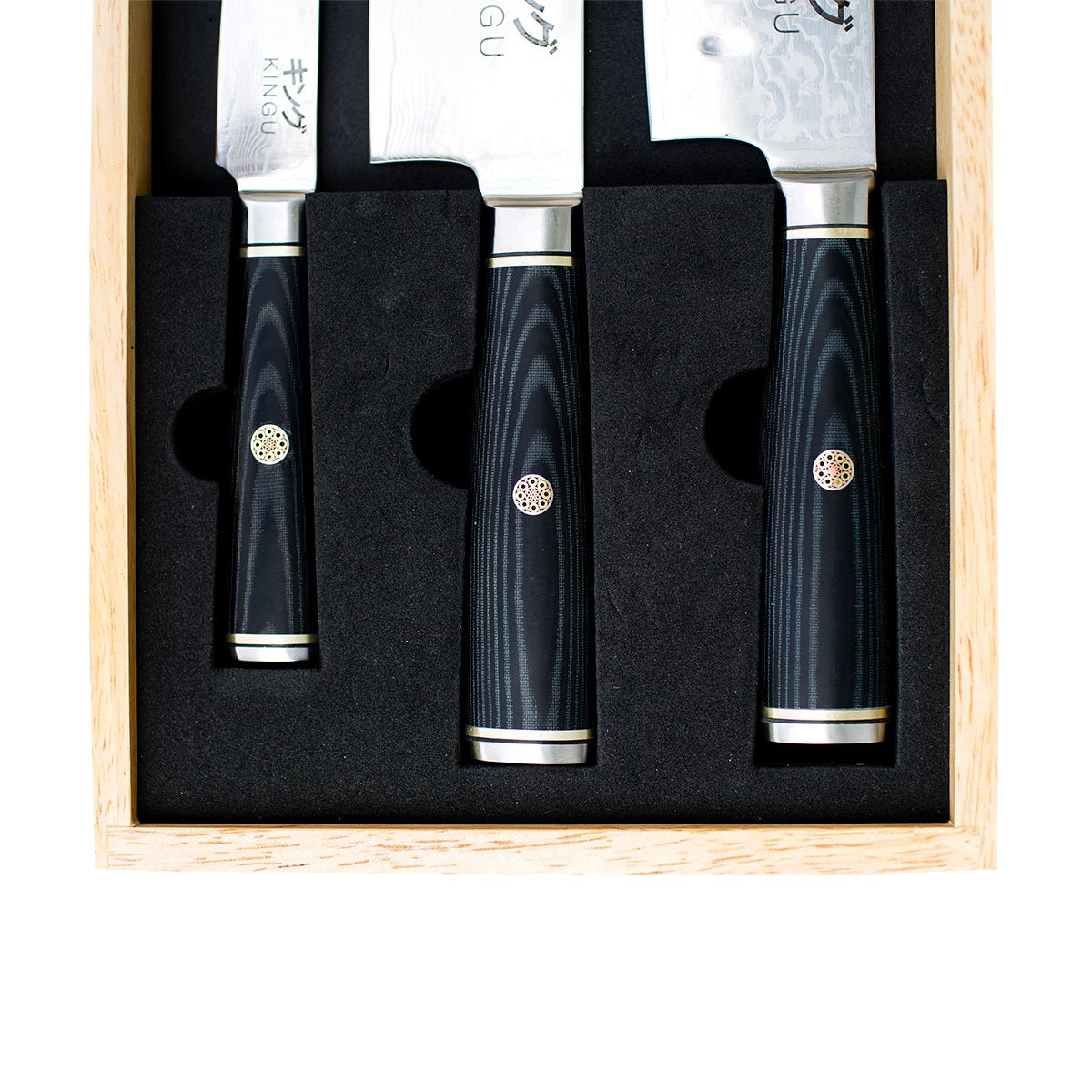 KINGU CUTLERY BLACK SERIES SET | Carbon Japanese VG-10 Stainless Steel Blade - Razor Sharp 67 Layers Steel with Black Pakka Wood Handle, Mosaic Pin | Traditional Designed Oak Wooden Box by KINGU CUTLERY