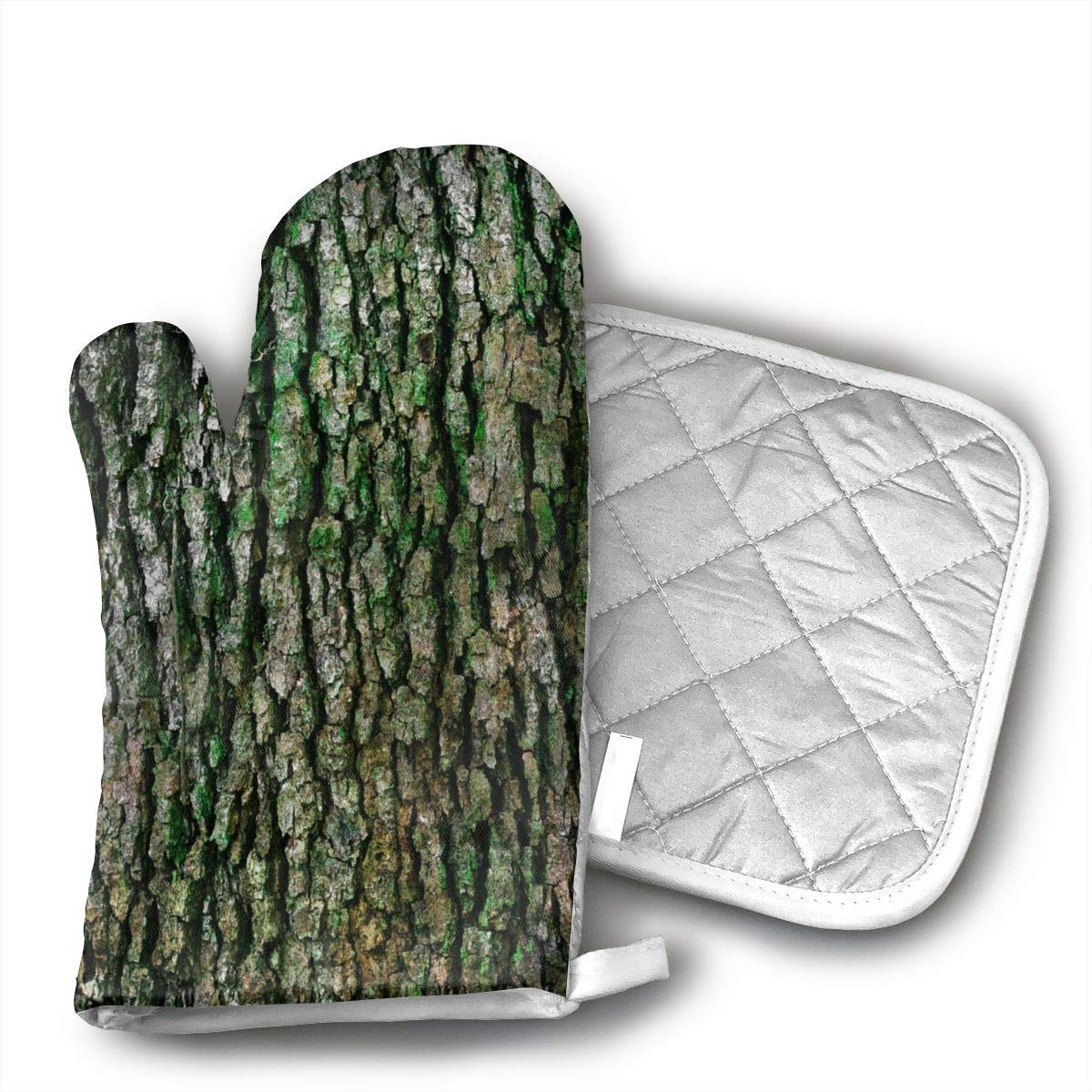 Old Wood is History Set of Oven Mitt and Pot Holder, Microwave Glove Cotton High Heat Resistance Oven Mitts with Disk Pad for Kitchen Cooking Baking
