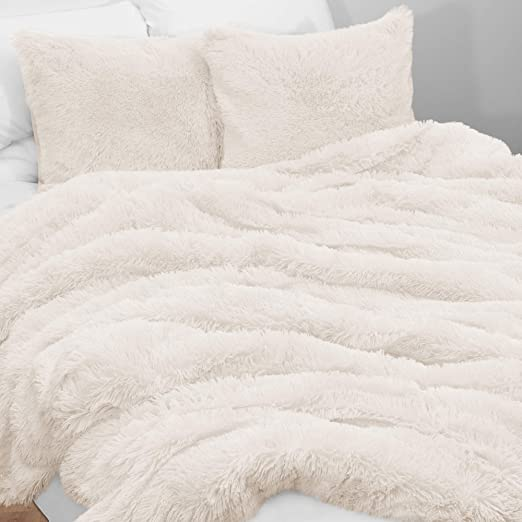 Luxury Ivory Shaggy Faux Fur Comforter AND Decorative Shams ALL SIZES