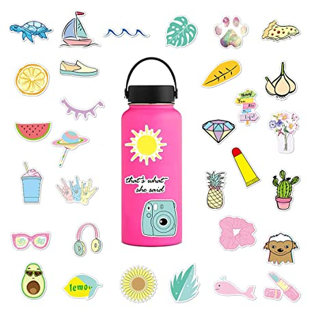 Water Bottle Stickers Laptop Vsco Vinyl Sticker Big 35 Pack For Teens Girls Cute Waterproof Trendy Decals For Phone Luggage Car Bumper Skateboard