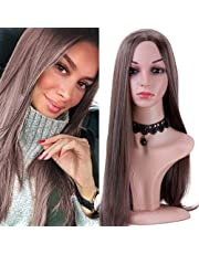 lungo rettilineo parrucche Fashion looking Brown Mixed color biondo parrucca resistente al calore sintetico parrucche piene per le donne