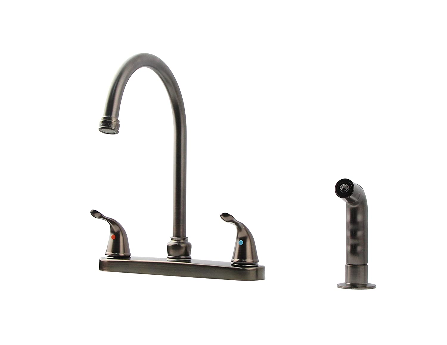 "StoneCrest Dual Control 8"" Metal High Rise Goose Neck Kitchen Faucet with Sprayer and Tea-Pot Style Handles, Oil Rubbed Bronze Finish."