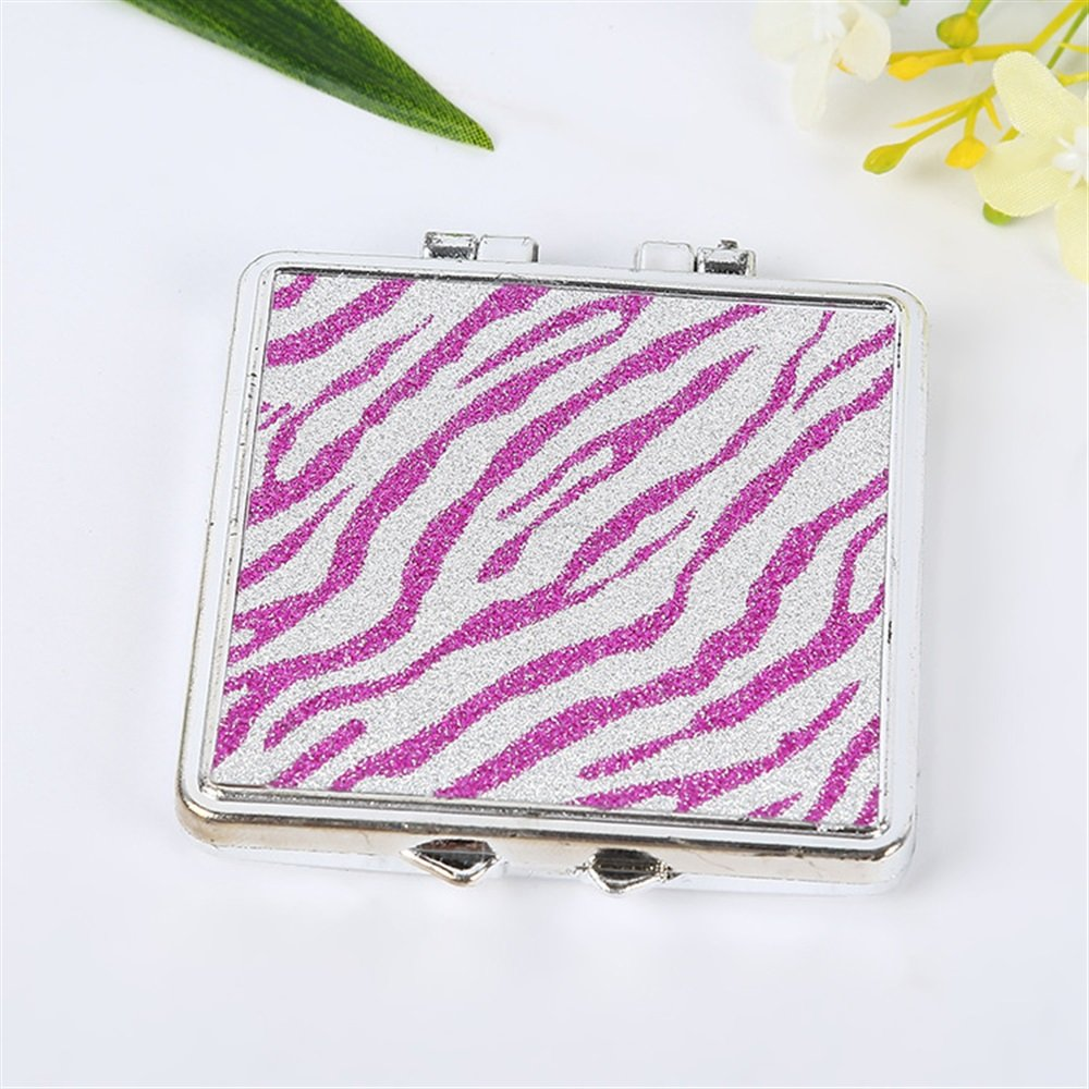 Childrens Mirror Mini Square Shape Cartoon Pattern Small Glass Mirrors for Crafts Decoration Cosmetic Accessory Rosy