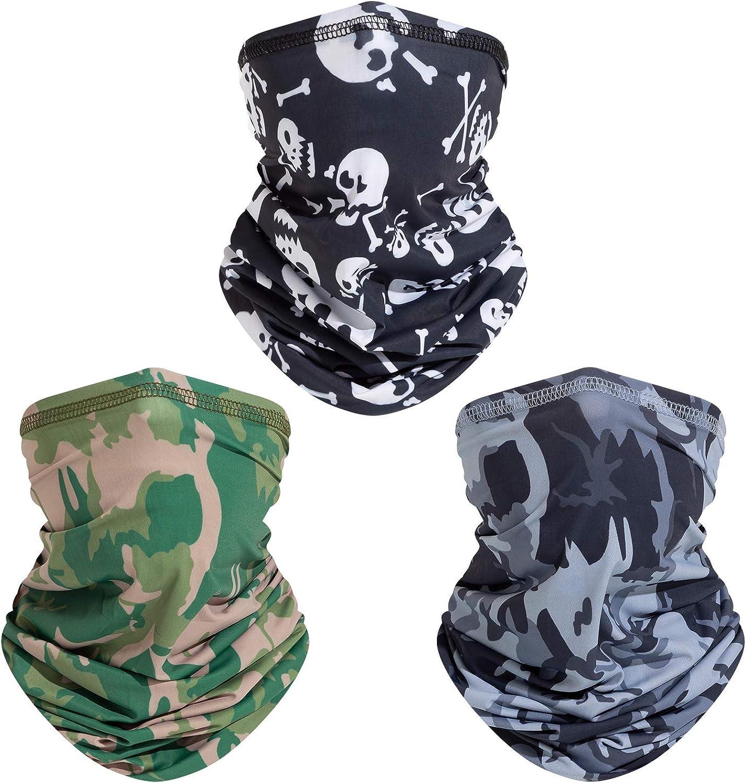 3 Pack Face Mask Neck Gaiter for Women Men, Sun UV Dust Wind Protection ReusableBreathable Sports Bandana