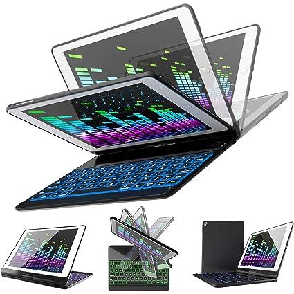 best service 3b737 04954 iPad Keyboard Case for iPad 2018 (6th Gen) - iPad 2017 (5th Gen) - iPad Pro  9.7 - iPad Air 2 & 1 - Thin & Light - 360 Rotatable - Wireless/BT - ...