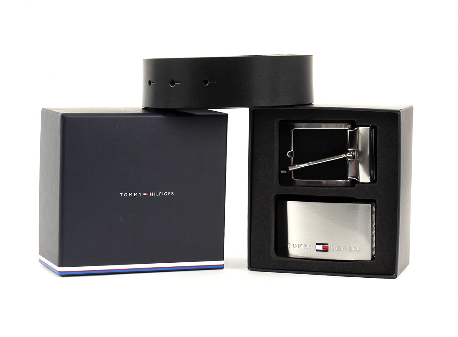 TOMMY HILFIGER Double Buckle Gift Box 3.5 Adjustable Reversible W80 Black Brown   Amazon.co.uk  Clothing af65c5885c