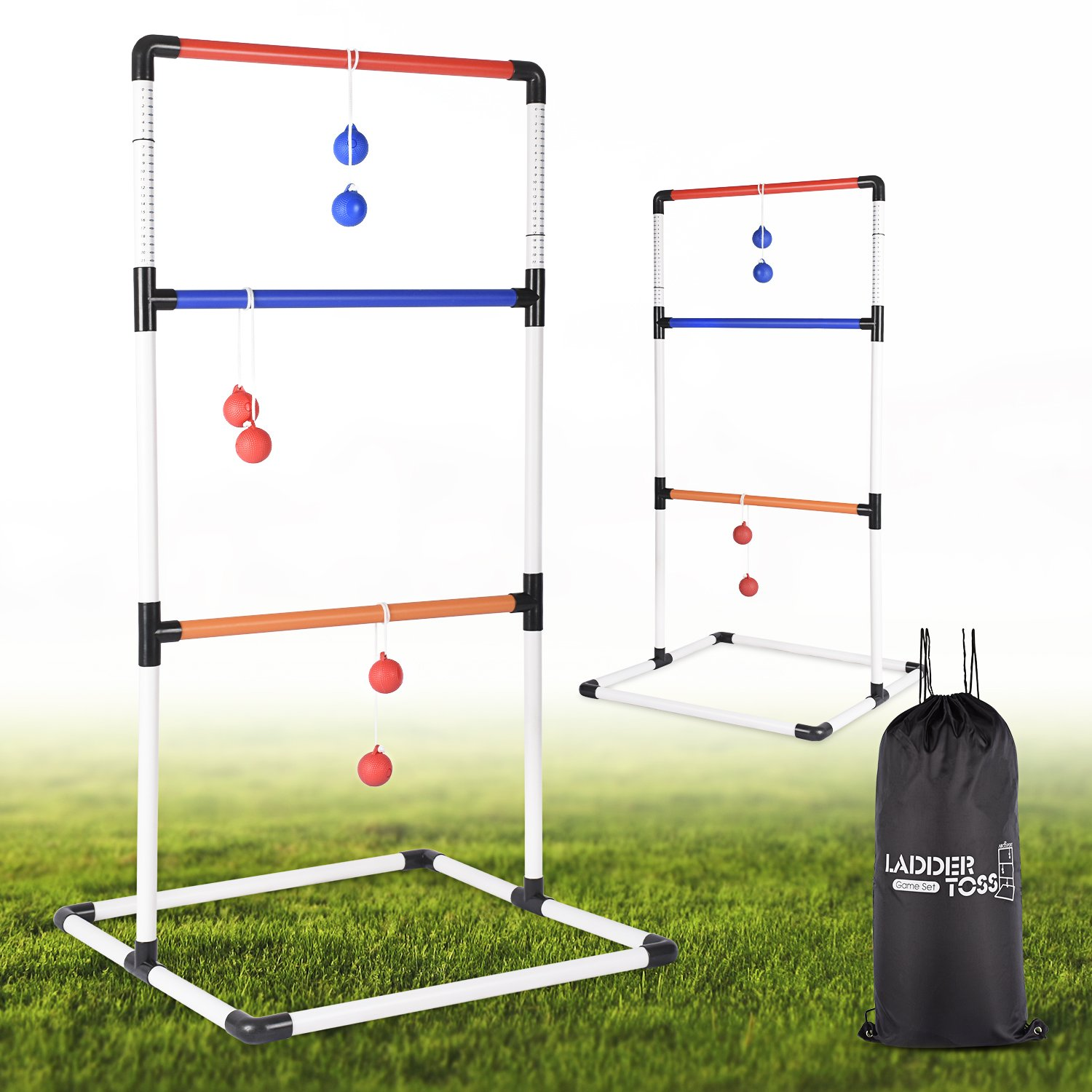Ladder Toss Ball Game Set - Box Shaped Sturdy & Stable Base - 6 Toss Bolos with Thick Rope - Built-in Score Tracker - Ideal for Indoor/Outdoor Game - with Backpack Bag - Easy Setup - 2-4 Player Abco Tech ABC2182