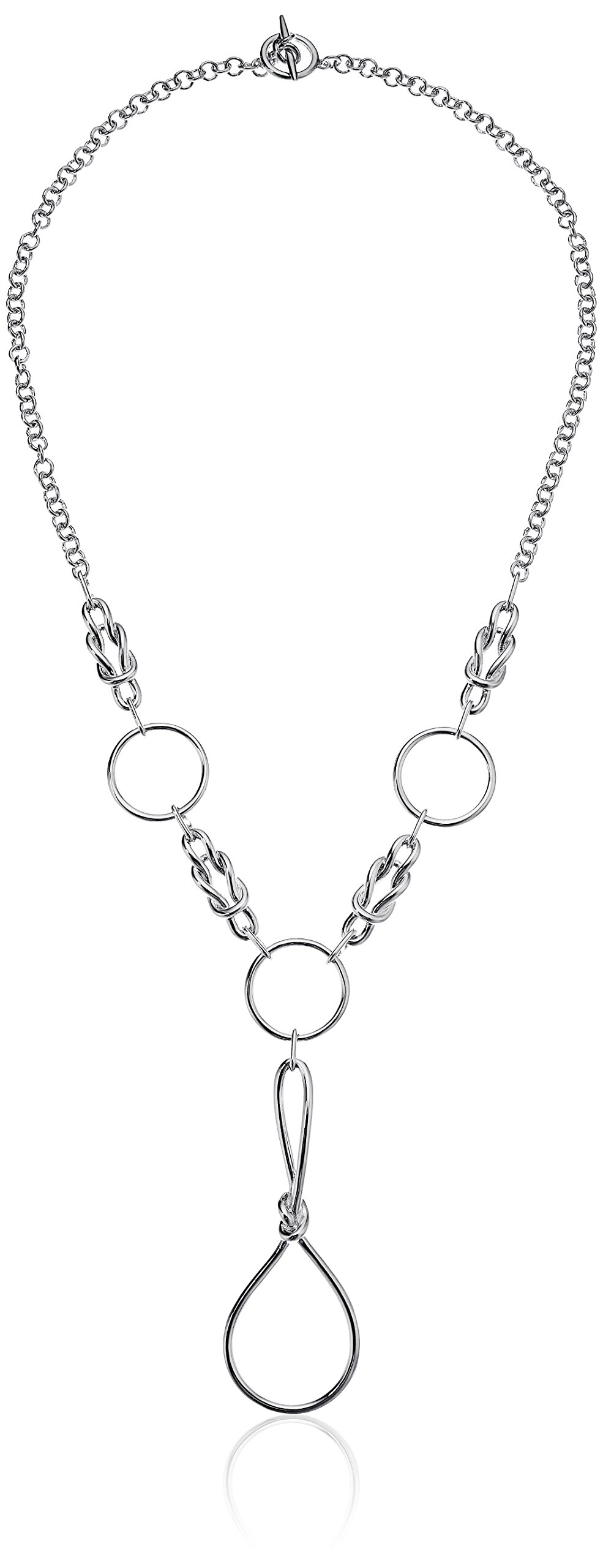 Noir Jewelry Cable Silver Y-Shape Necklace
