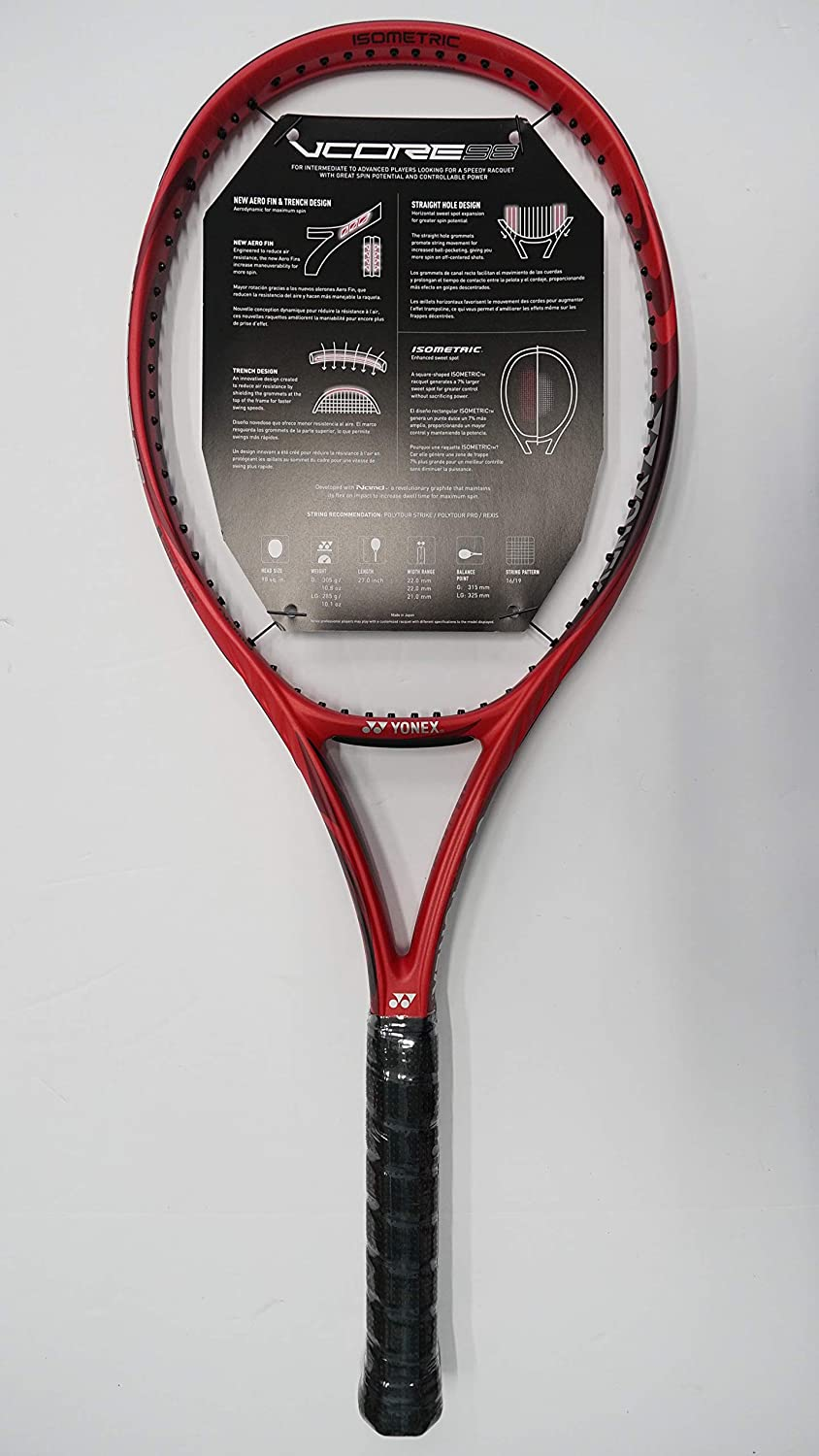 Amazon.com : Yonex Vcore 98 Tennis Racquet, Free Synthetic Gut String (#2 [4 1/4]) : Sports & Outdoors