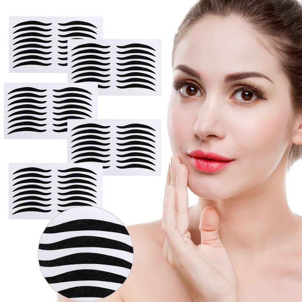 Black Eyeliner Stickers,200 Pairs Magic False Eyeliner Adhesive Invisible Double Eyelid Tape Fiber Paste Beauty Makeup Tools