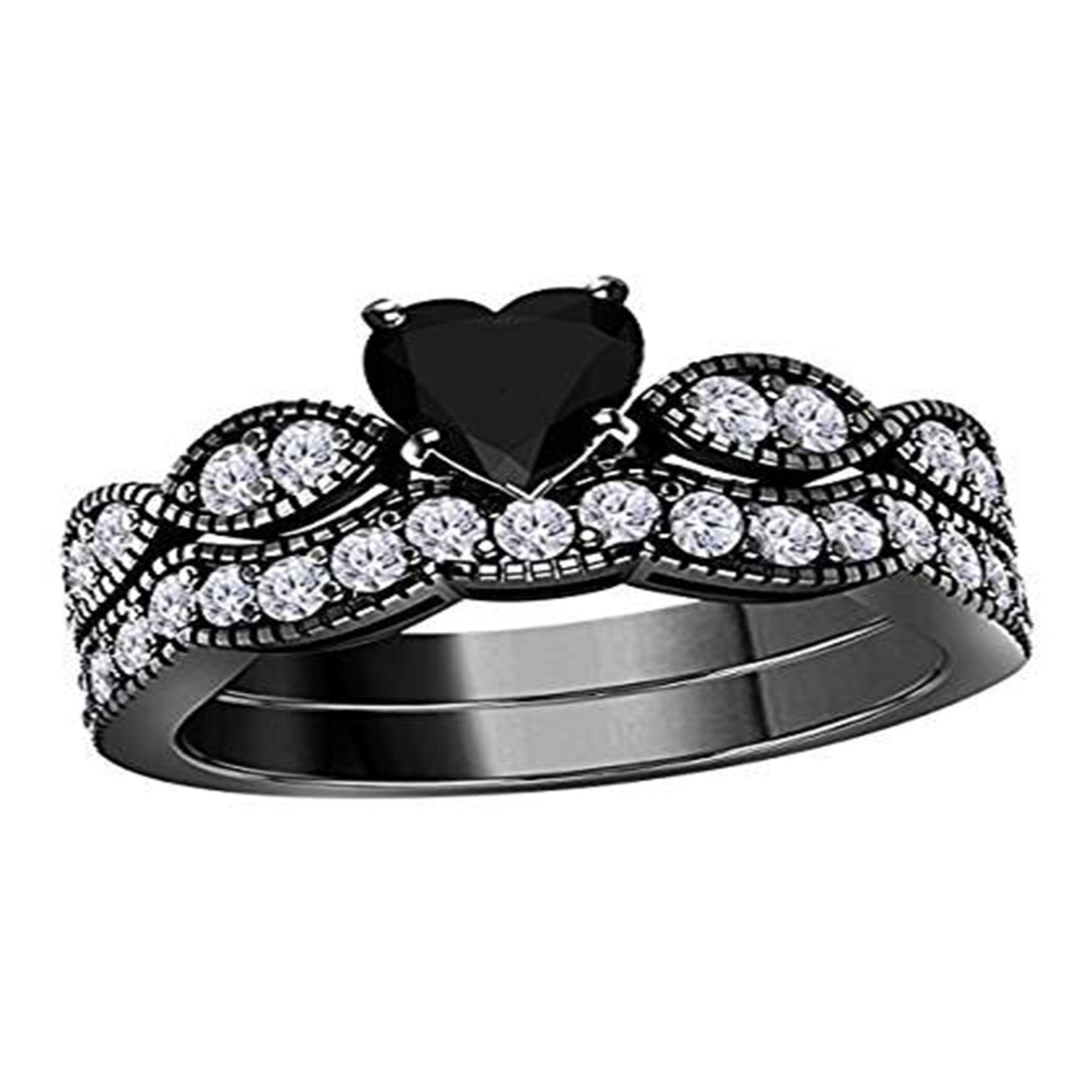 Suhana Jewellery Engagement Wedding Ring with Band 14K Black Gold Fn Alloy Heart Cut Simulated Diamond Studded