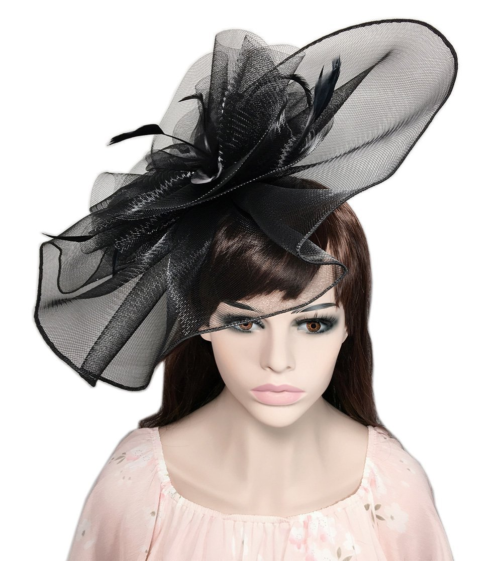YSJOY Elegant Veil Mesh Feather Fascinator Hat Sweet Floral Big Derby Hat Wedding Cocktail Tea Party Hat Church Kentucky Hat Funeral Headwear Black