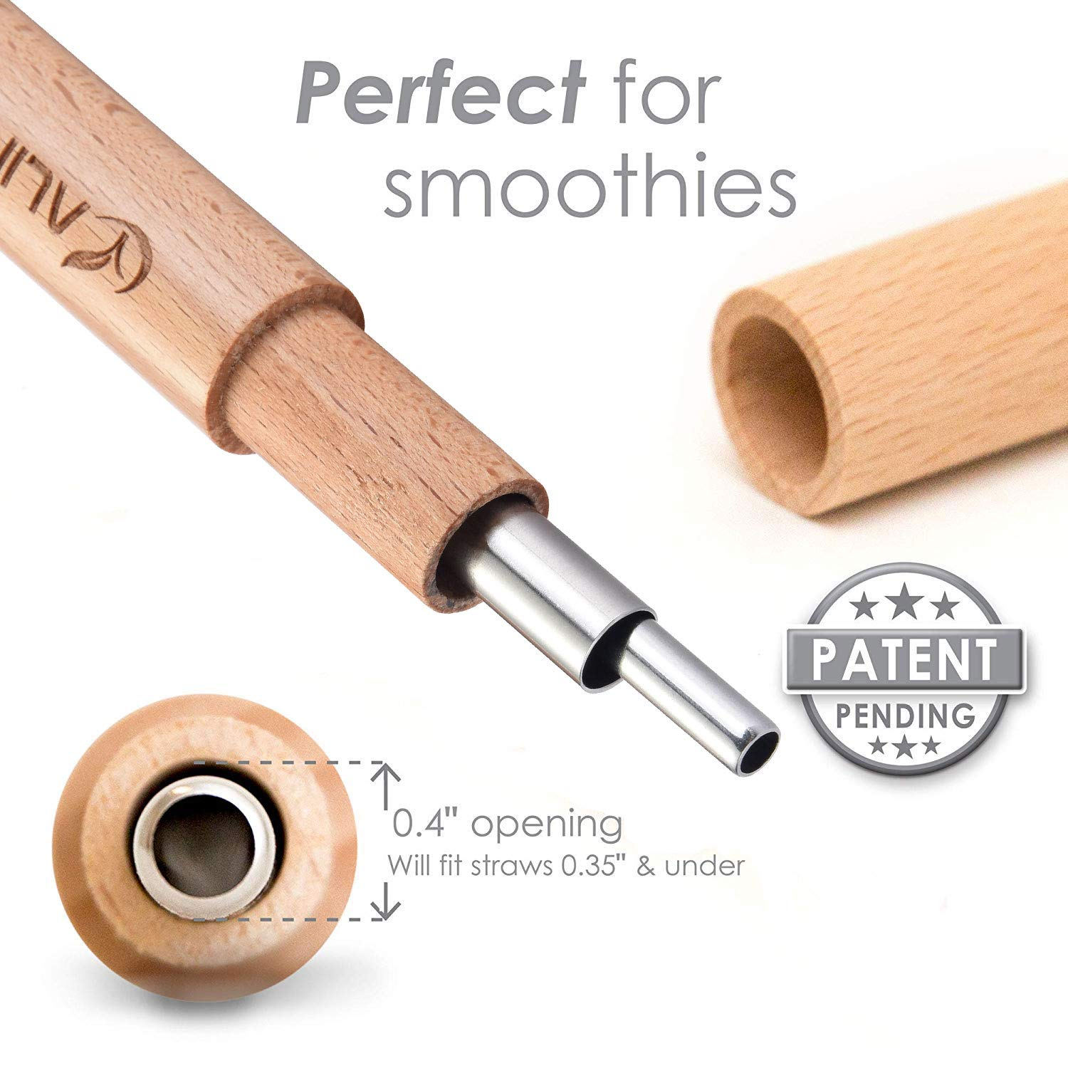 1 Pouch 2 Cleaning Brush ALINK Stainless Steel Reusable Straw Set: 2 Metal Straws 1 Handcrafted Wooden Case Smoothie Jumbo Straws 9 Inches Long.