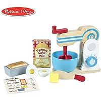 Melissa & Doug Set de Batidora de Madera para Preparar un Pastel (11 piezas) - Comida y Accesorios de Cocina de Juguete