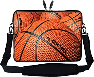 Meffort Inc 15 15.6 inch Neoprene Laptop Sleeve Bag Carrying Case with Hidden Handle and Adjustable Shoulder Strap - Basketball