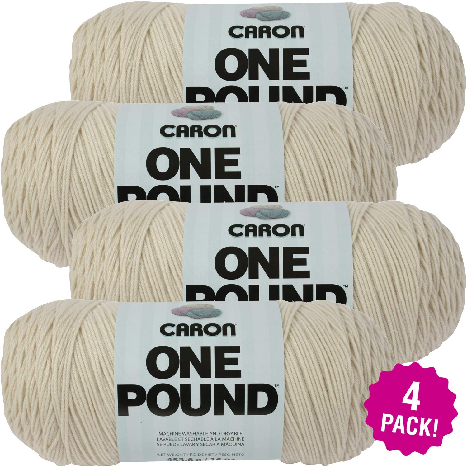 Caron 99612 One Pound Yarn-Off White, Multipack of 4, Pack