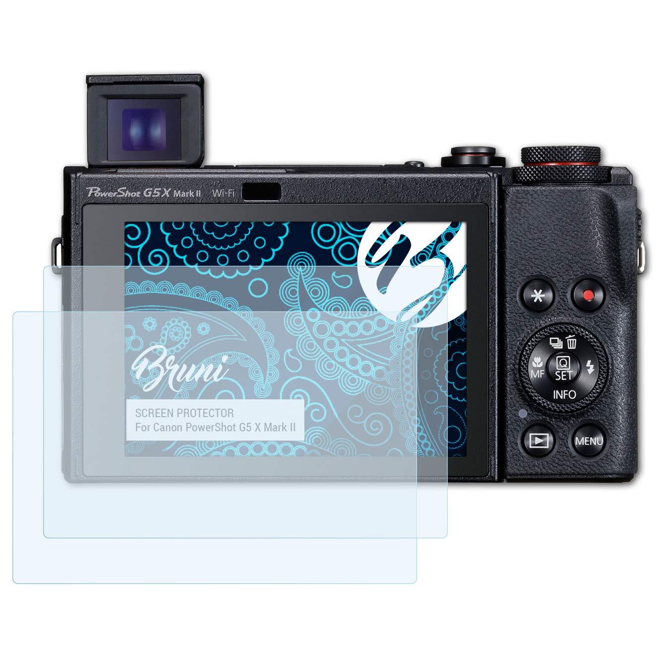 Bruni Pel/ícula Protectora Compatible con Canon PowerShot G5 X Mark II Protector Pel/ícula Claro L/ámina Protectora 2X