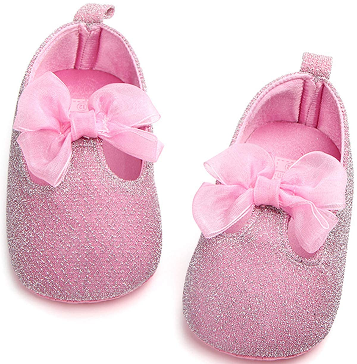 ADIASEN Baby Unisex Baby Shoes,Soft Non-Slip Toddler Shoes,Band Bowknot Infants Shoes,Newborn Shoes for Baby Girl Boy,Spring//Fall Baby Shoes Glisten