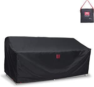 Turtle Life Patio Sofa Cover,Outdoor Heavry Duty Durable UV Water Resistant Anti-Fading Loveseat Cover with Upgrade Air Vent, Black,60x35x35 inch