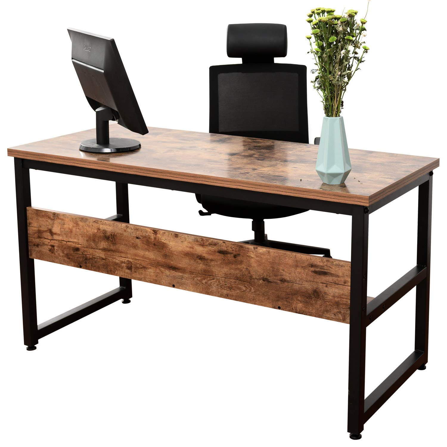 IRONCK Computer Desk 55'' with Bookshelf, Office Desk, Writing Desk, Wood and Metal Frame, Industrial Style, Study Table Workstation for Home Office Furniture by IRONCK (Image #7)