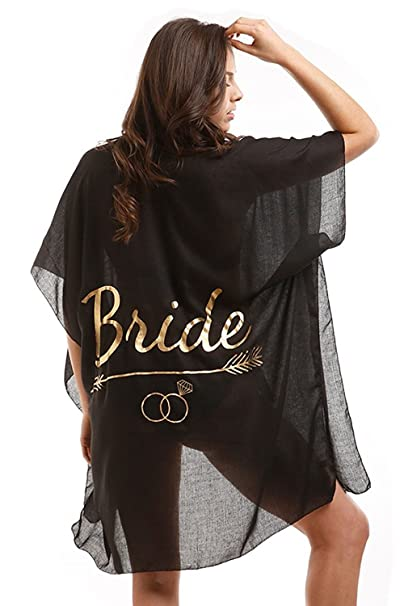 ca8297d07 Sheer Metallic Print Women's Bride Maid of Honor Tribe Bridal Party Swimsuit  Cover Up Beach Wedding