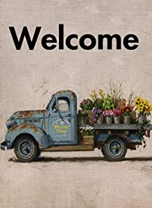 Selmad Summer Spring Garden Flag Old Flower Truck Double Sided, Welcome Burlap Decorative Farm House Yard Decoration, Floral Farmhouse Country Seasonal Home Outdoor Vintage Décor 12 x 18 Fall Pickup