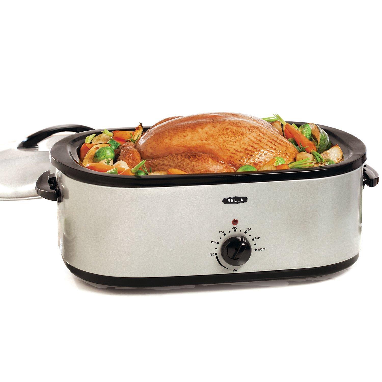 BELLA 18 Quart Turkey Roaster Oven with Roasting Rack, Silver