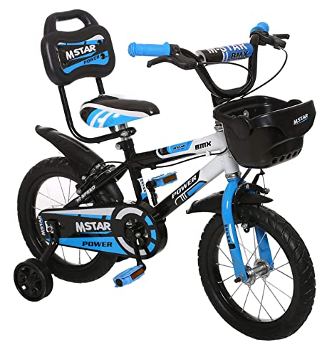 Outplayo Bikes M.Star Power Bicycle for 3 to 5 Years Kids,14 inches (Blue White Black)