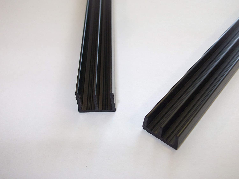 Gu/ías de cristal Innovo Vivarium 6 mm, 750 mm, parte superior e inferior, 1 par de armarios color negro