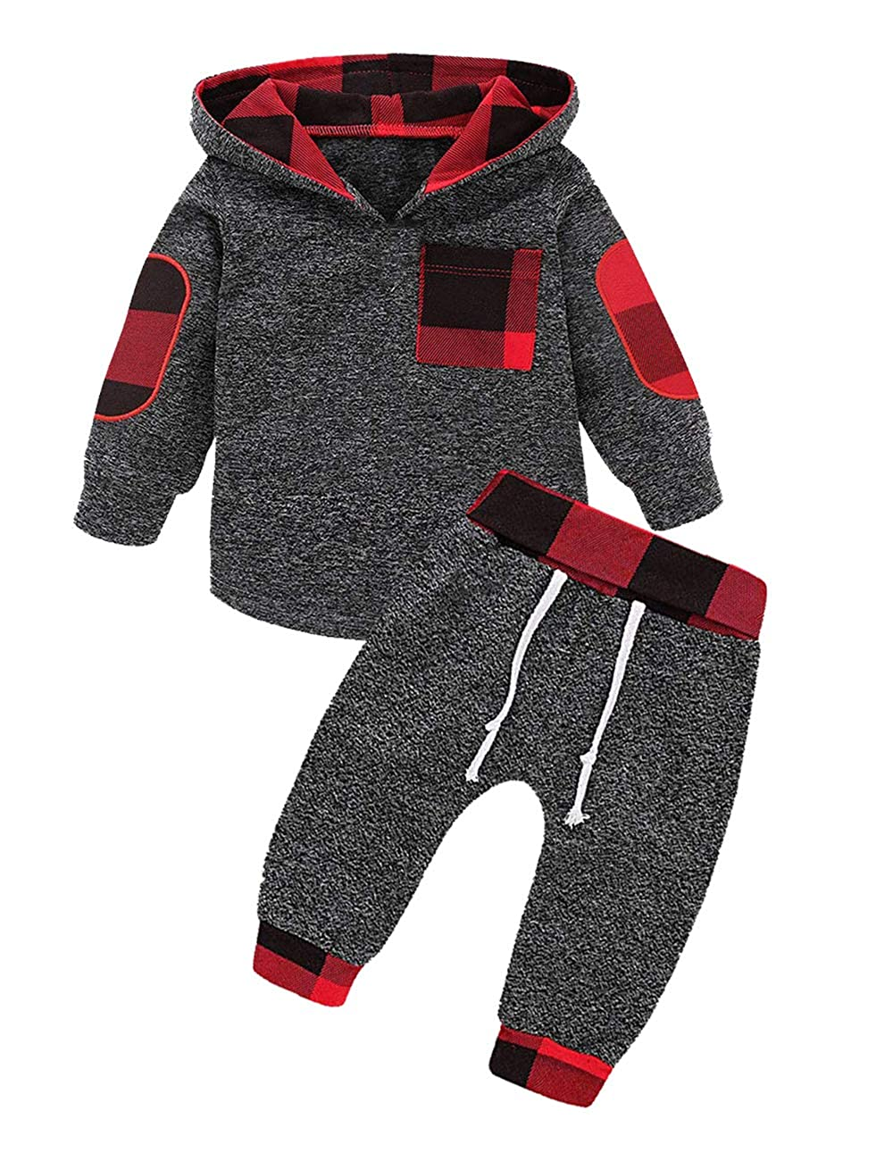 a5199169f0ce9 Amazon.com: Toddler Infant Baby Boys Girls Stylish Plaid Floral Pocket  Hooded Sweatshirt Coat, Kids Jackets Tops +Pants Outfit Sets: Clothing
