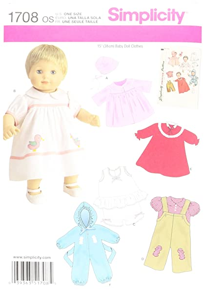 Amazon.com: Simplicity 1708 Baby Doll Clothes Sewing Pattern, 15 ...