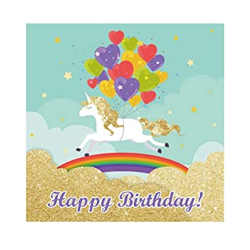 OERJU 3x3m Feliz cumpleaños Fondo Corriendo Unicornio con ...