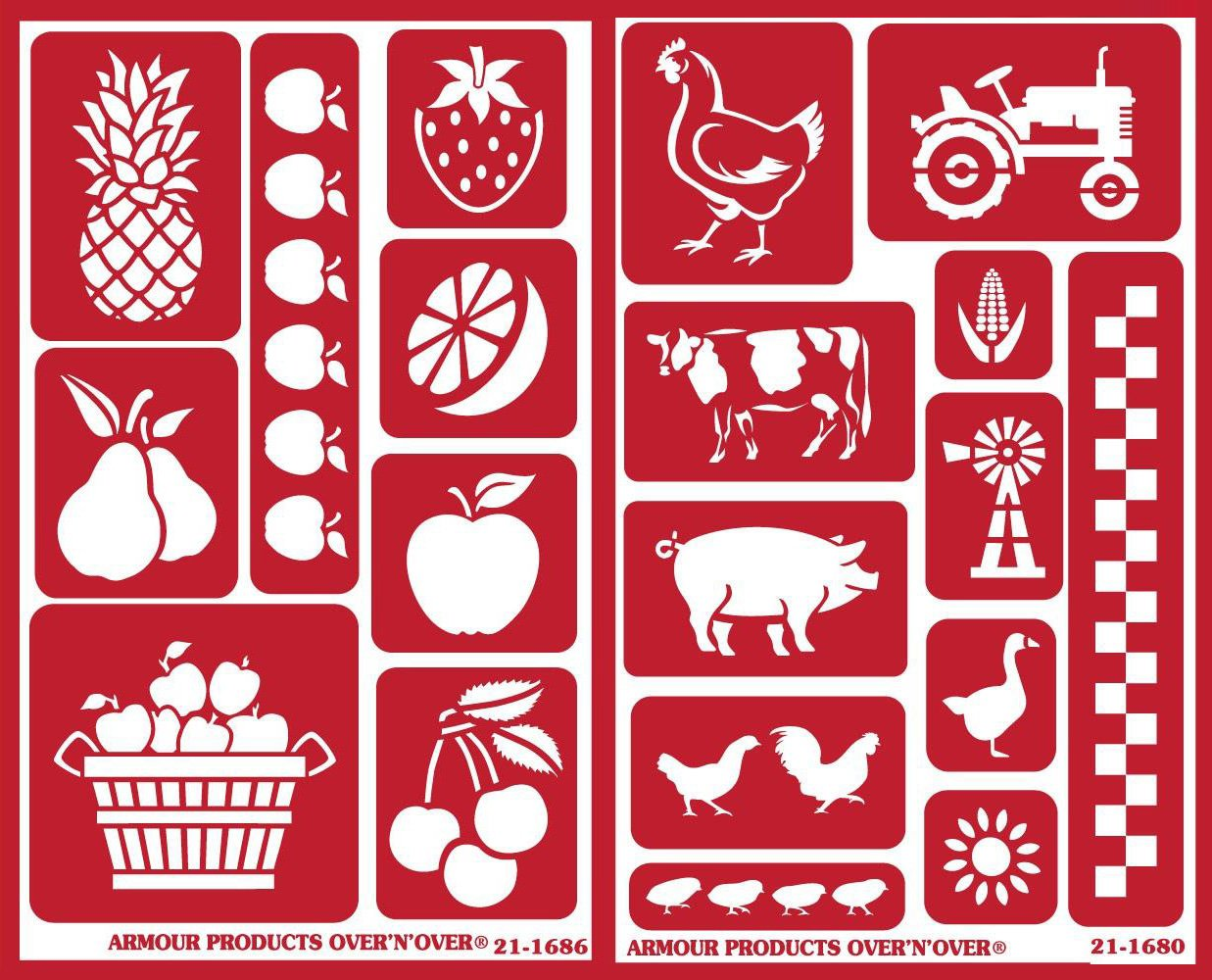 Over 'n' Over Reusable Self-Stick Etching Stencil for Glass (Or Stamping) - Bundle of Two Sets - Farm to Table: Tutti Frutti and Farm Friends Armour Products 4336975428