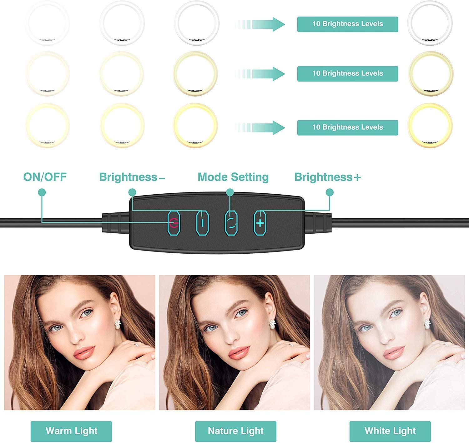 DLMPT LED Ring Make Up Light with Adjustable Tripod 3 Modes 10 Brightness Levels Ringlight Make Up Light Dimmable for Live Stream Makeup YouTube Video