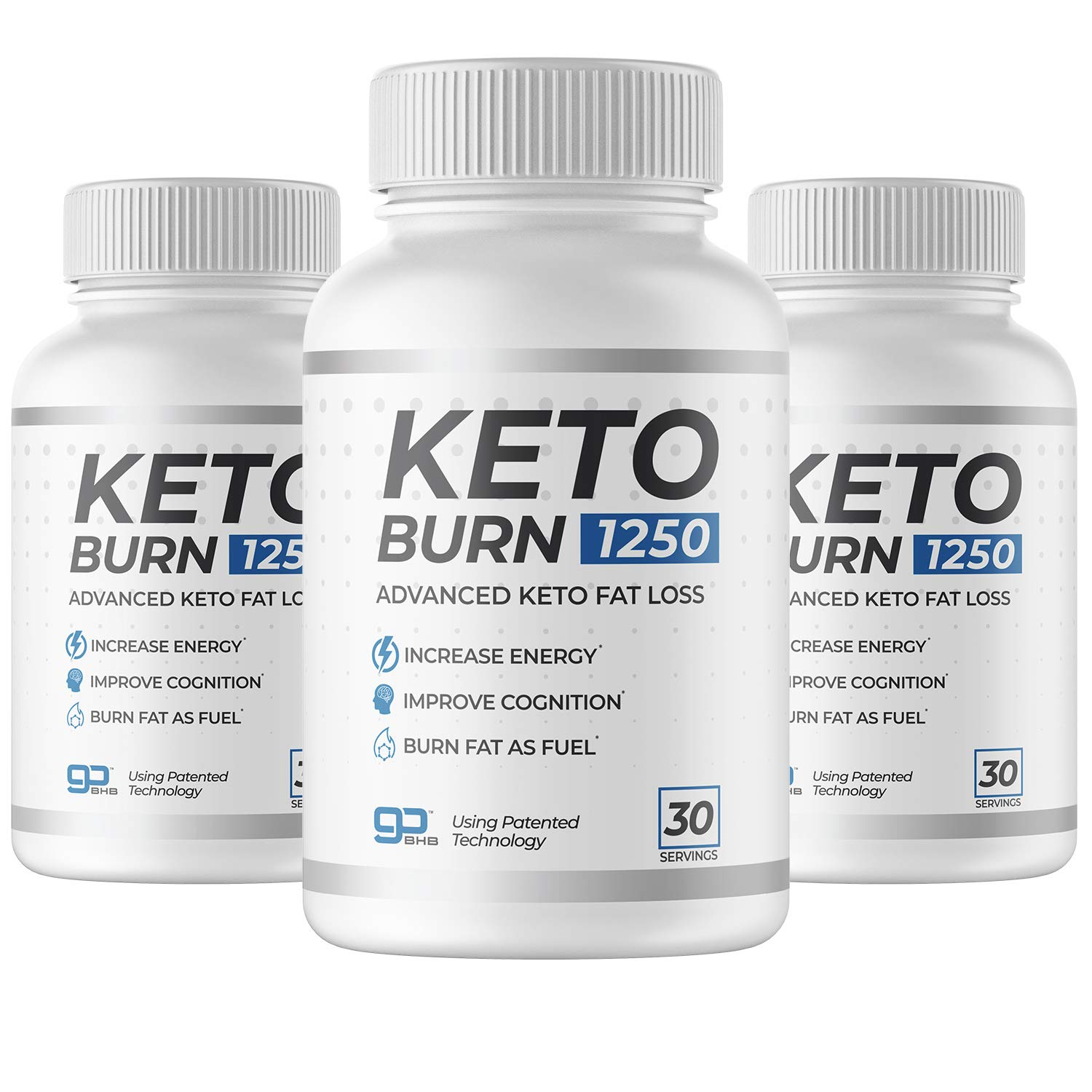 3 Bottles of KetoBurn 1250 (180 Capsules) - The ONLY Keto Pill That Uses Patented Fat Loss Technology!
