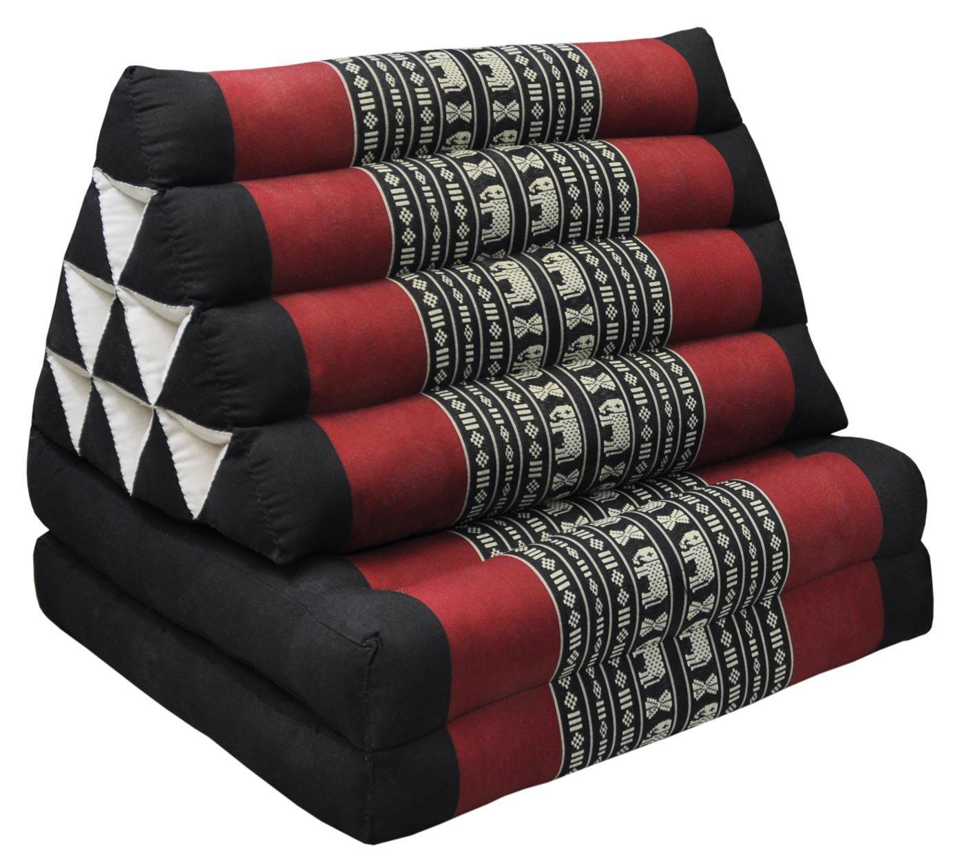 Wifash Cuscino triangolare tailandese con materasso 2parti pieghevoli, Nero/Rosso Con Elefanti (81602)