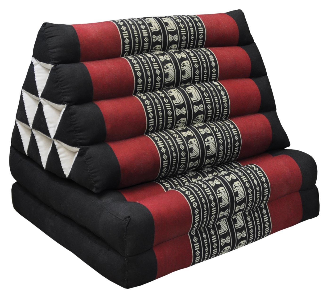 Thai triangular cushion with mattress 2 folds, black/red, relaxation, beach, pool, meditation garden (81602)