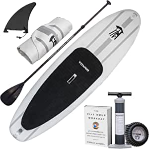 "Tower Inflatable 9'10"" Stand Up Paddle Board - (6 Inches Thick) - Universal SUP Wide Stance - Premium SUP Bundle (Pump & Adjustable Paddle Included) - Non-Slip Deck - Youth and Adult - Adventure 1"